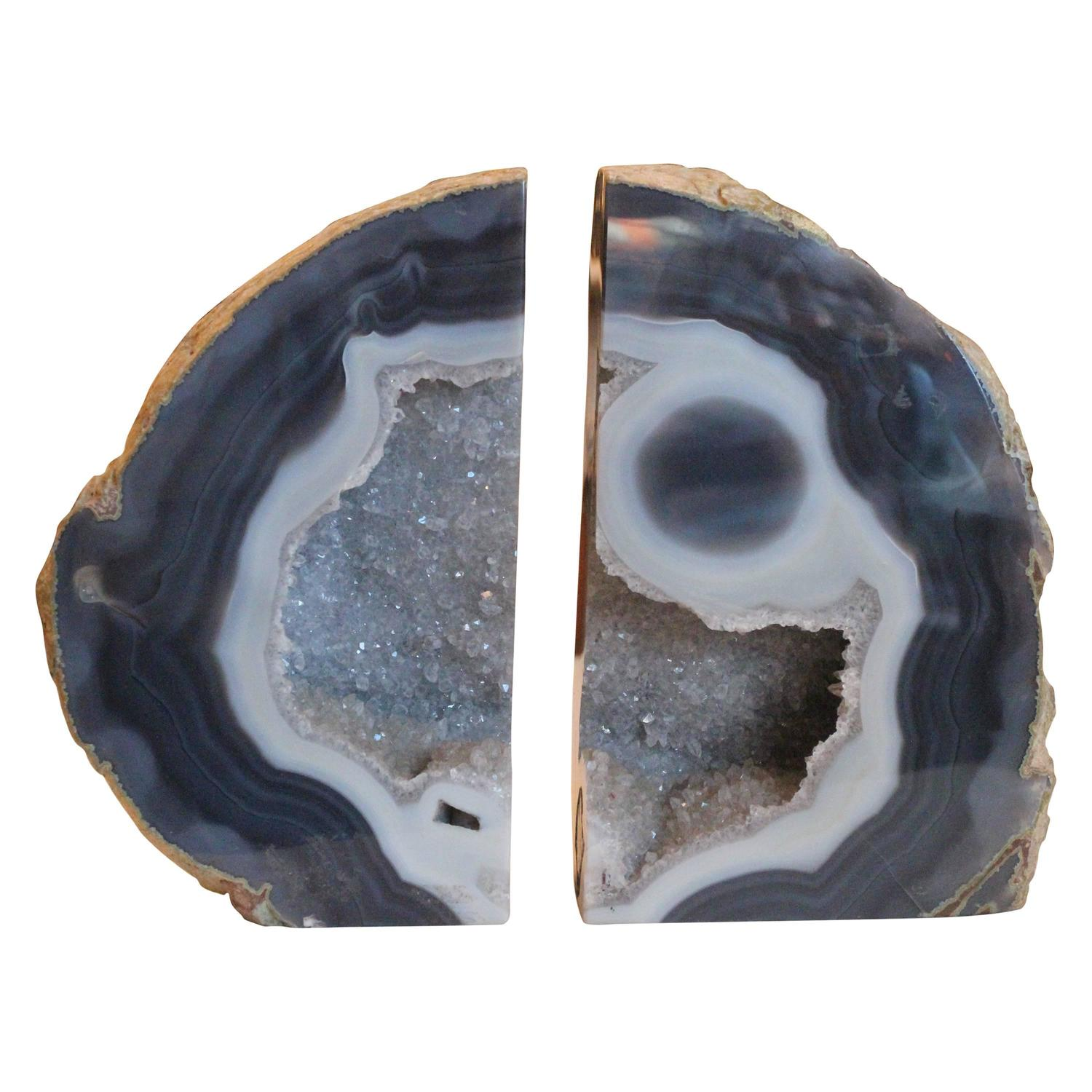 1990s richly polished agate geode bookends with vivid colors at 1stdibs - Geode bookends ...