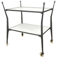 Wrought Aluminum Bar Cart with White Vitrolite Shelves