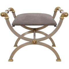 Steel and Brass Curule Bench
