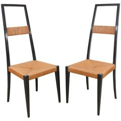 Pair of Italian Black Lacquer and Rush Chairs