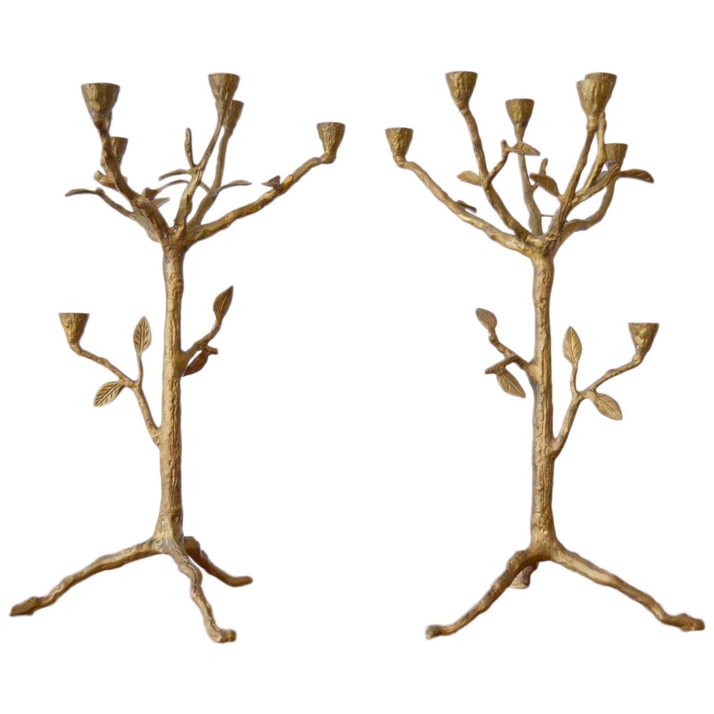 Pair Of Organic Modern Tree Branch Candleholders At 1stdibs