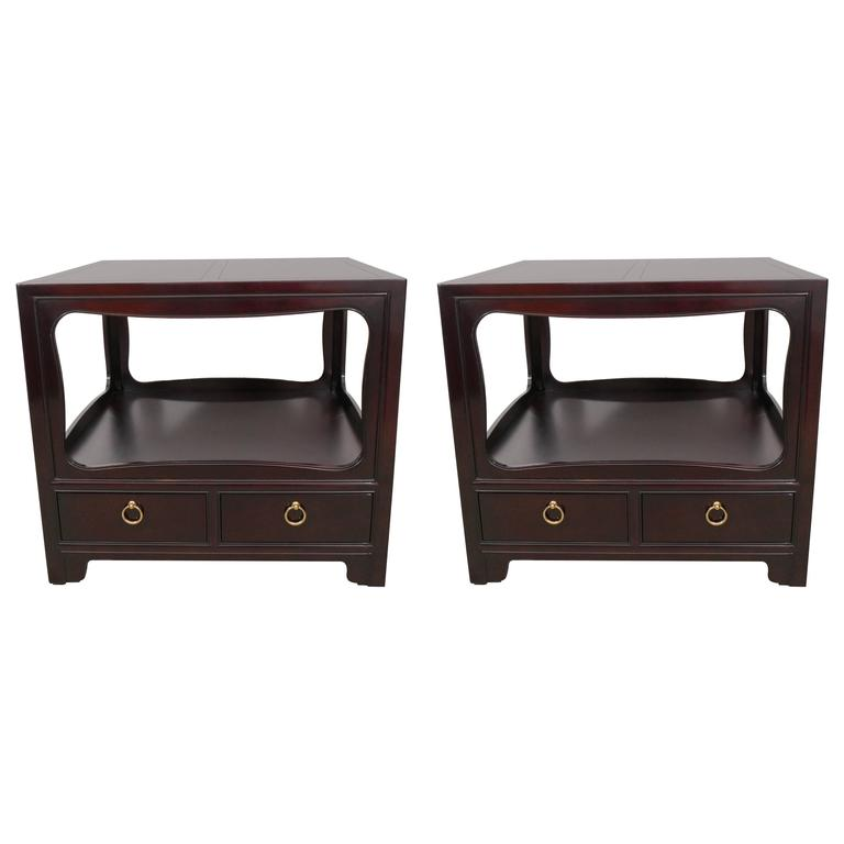 Pair of Mahogany End Tables by Michael Taylor for Baker 1