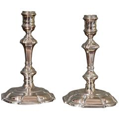 Matched Pair of 18th Century Silver Candlesticks