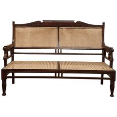 Antique Wood and Caned Settee