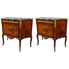 A Pair of Louis XV Style Bronze Mounted Concave Marble Top Commodes