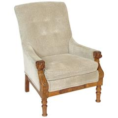Victorian bergere with dog carved arms