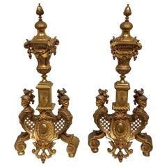 Pair of Louis XIV Style Gilt Bronze Fireplace Chenets, 19th Century