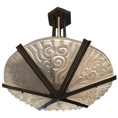 French Art Deco Chandelier by Degue