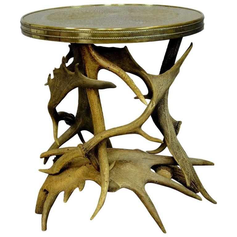 Log Cabin Antler Side Table At 1stdibs