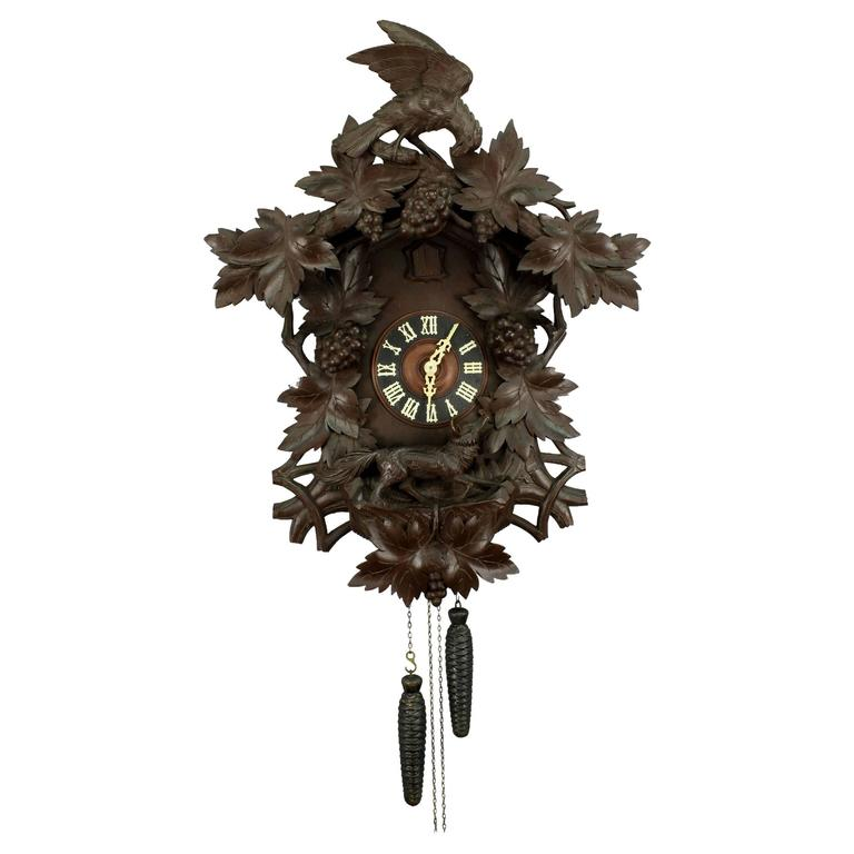 Antique Black Forest Carved Wood Cuckoo Clock At 1stdibs