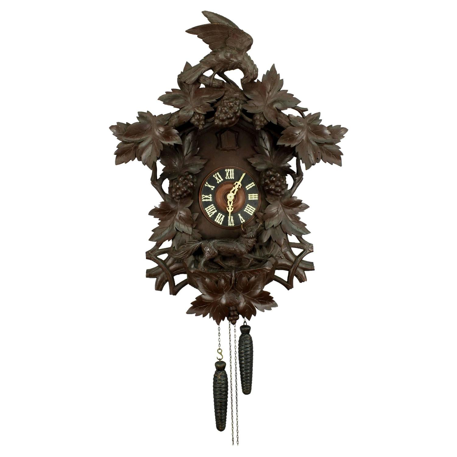 Antique black forest carved wood cuckoo clock at 1stdibs - Wooden cuckoo clocks ...