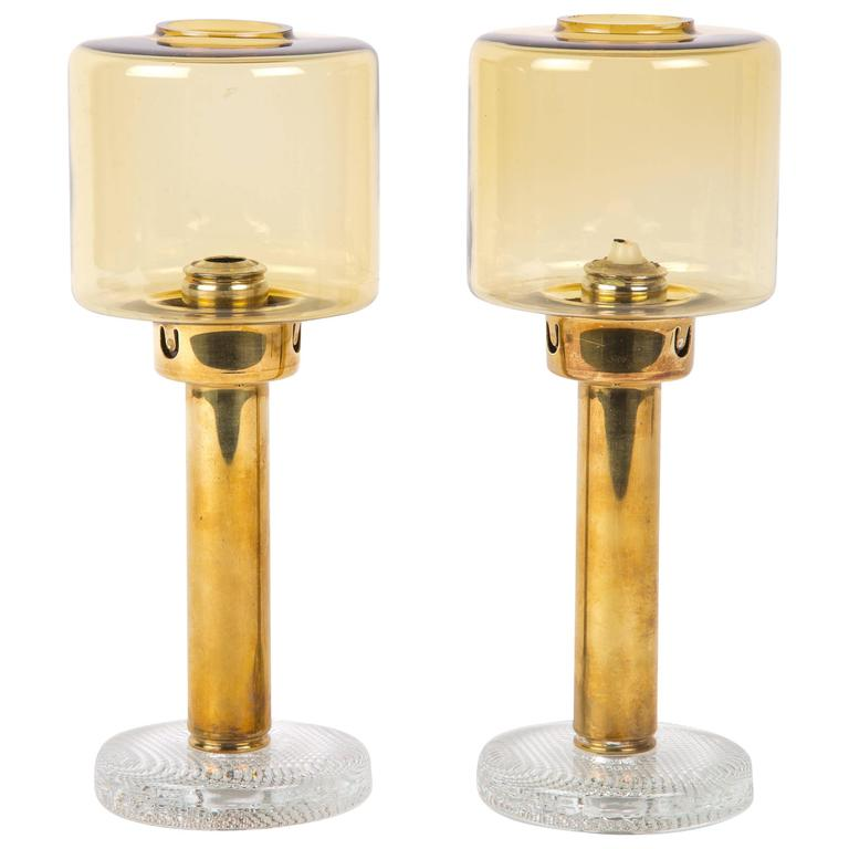 Hans Agne Jakobsson Set of Two Brass Candleholders for Markaryd For Sale