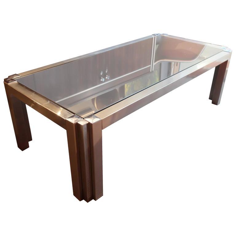 Mid Century Modern Sofa Table Aluminium Chrome Smoked