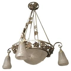 French Art Deco Chandelier with Grapes Motif