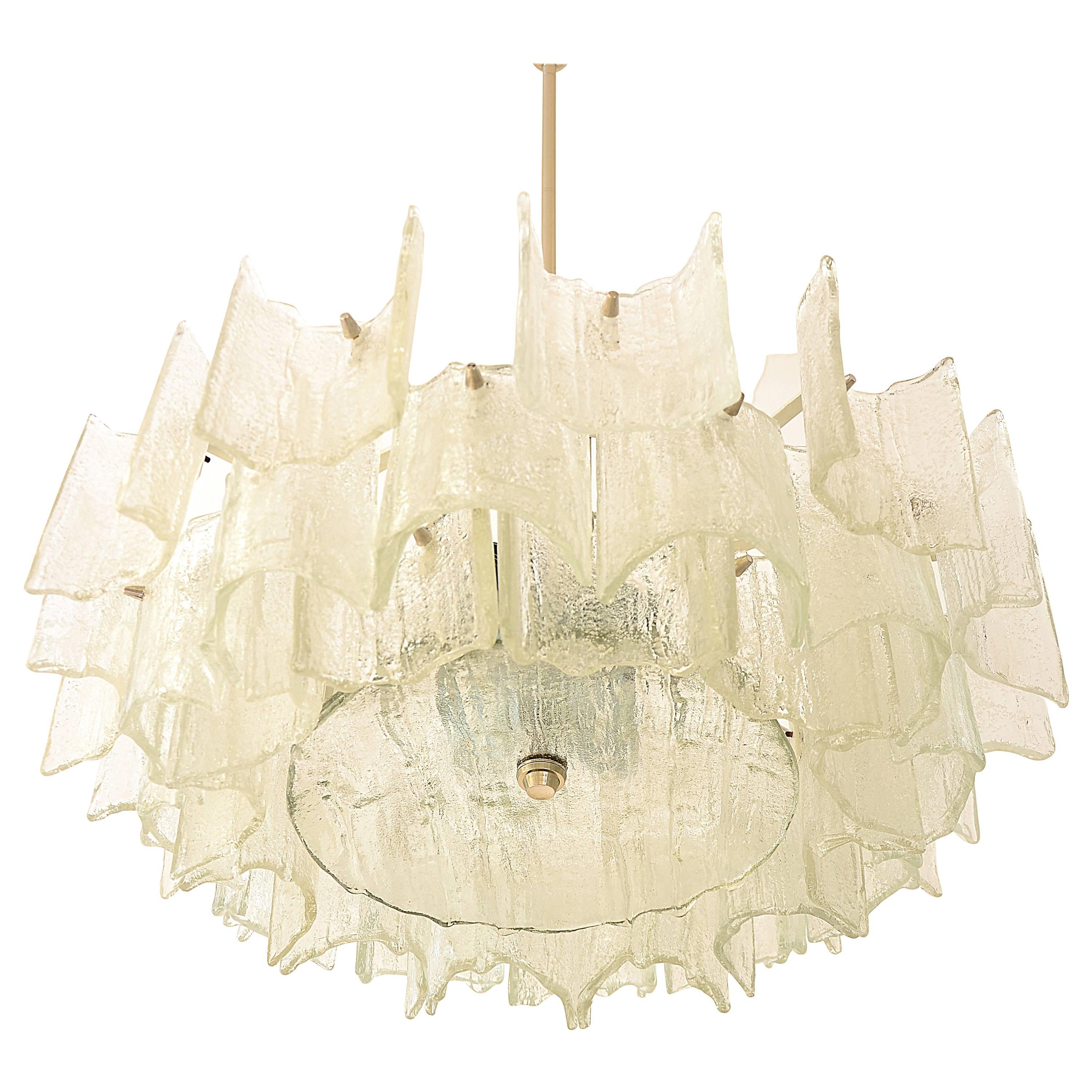 Big Kalmar Frosted Glass Chandelier, Austria, 1960s