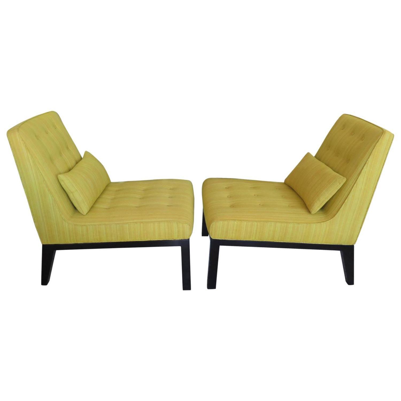 Pair of edward wormley for dunbar slipper chairs for sale at 1stdibs - Edward wormley chairs ...