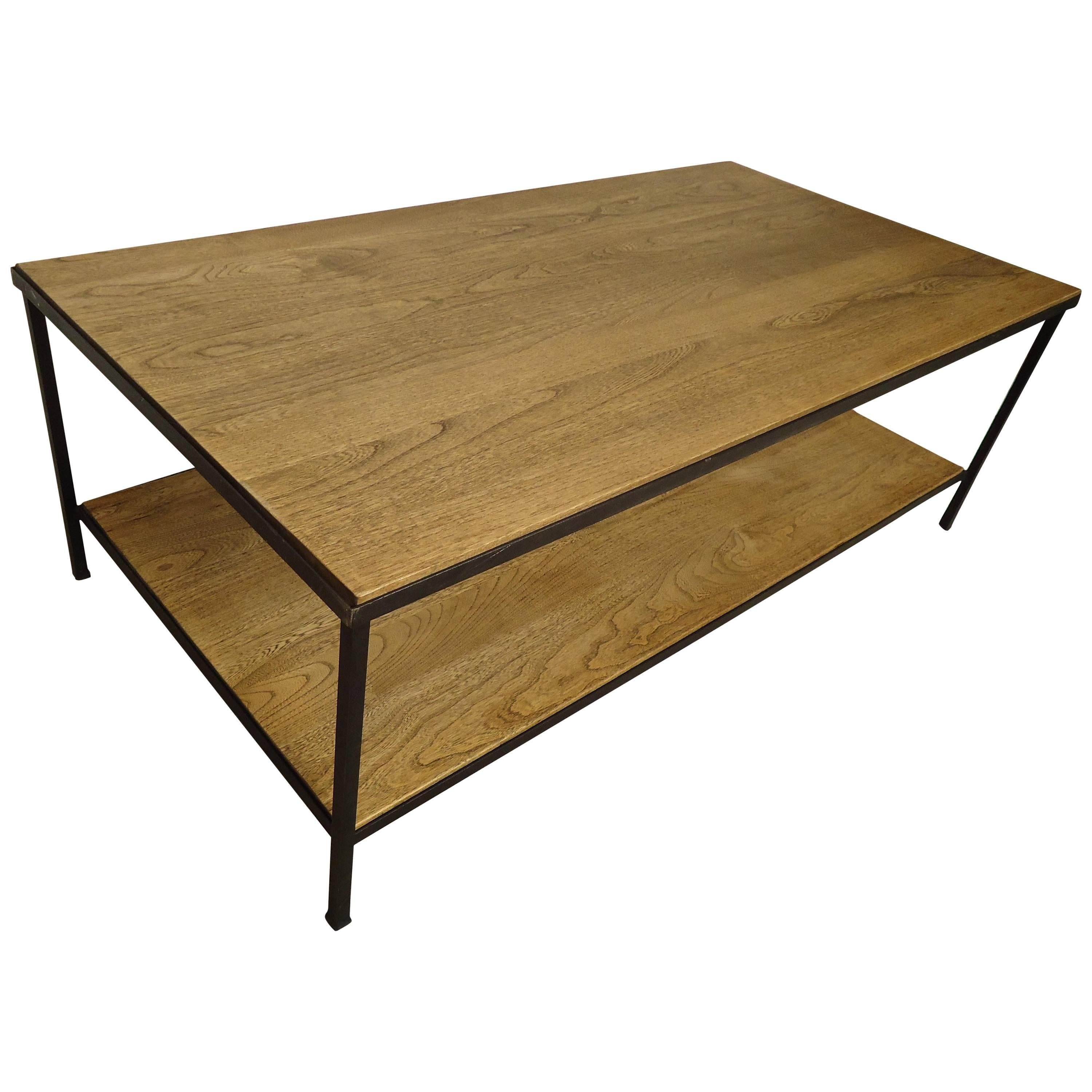 Solid Industrial Style Two-Tier Coffee Table