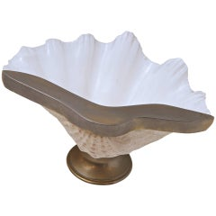Nickel-Plated Natural Clam Shell Dish