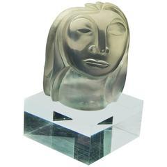 """""""Female Head,"""" Fabulous Lucite Sculpture by Susan Bush"""