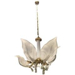Italian Murano Mid Century Floral Chandelier By Franco Luce