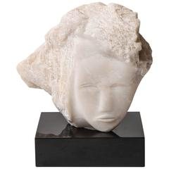 Wendy Hendelman White Alabaster Head Sculpture, 2014