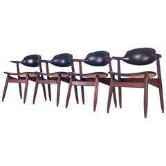 Set of Four 'Cowhorn' Chairs by Tijsseling for Hulmefa, Netherlands, 1960
