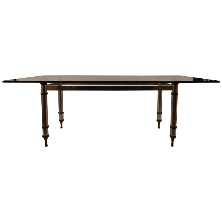 Glass-Top Aluminum and Brass Base Dining Table