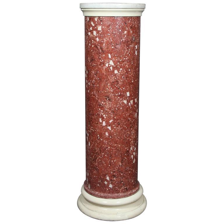 Italian Scagliola Faux Marble Pedestal