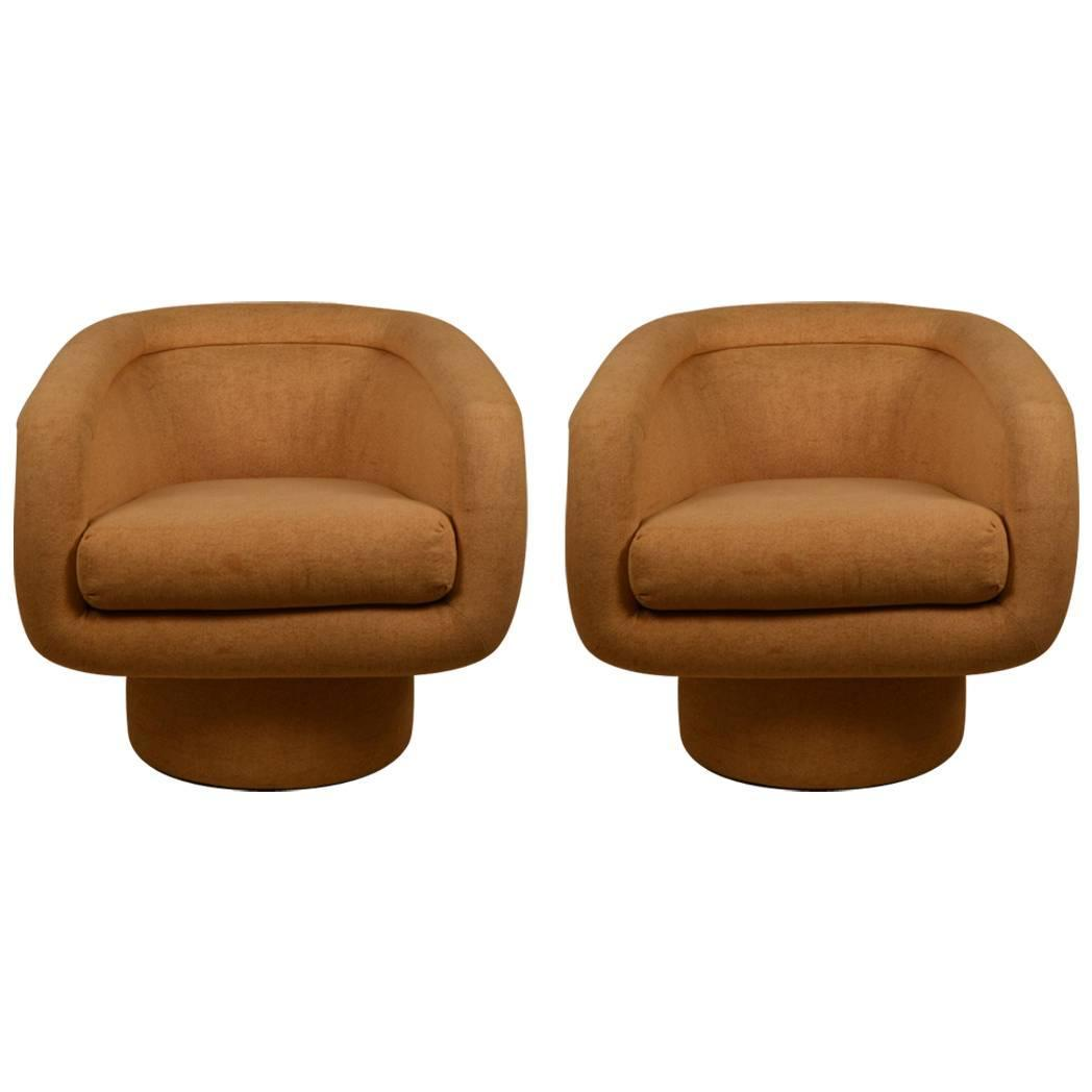 Pair of Upholstered Swivel Tub Chairs at 1stdibs