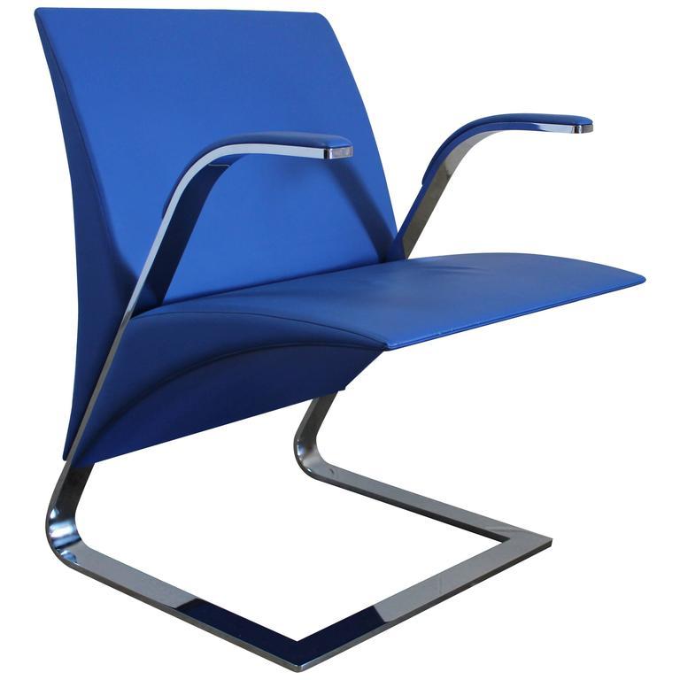 Poltrona Frau Ravello.Poltrona Frau Ravello Armchair In Blue Pelle Leather By Ricardo Antonio