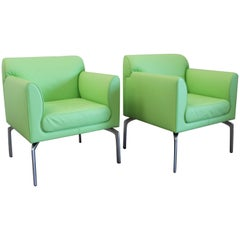 """Poltrona Frau """"Eos"""" Armchairs in Green """"Pelle"""" Leather by Pagani and Perversi"""
