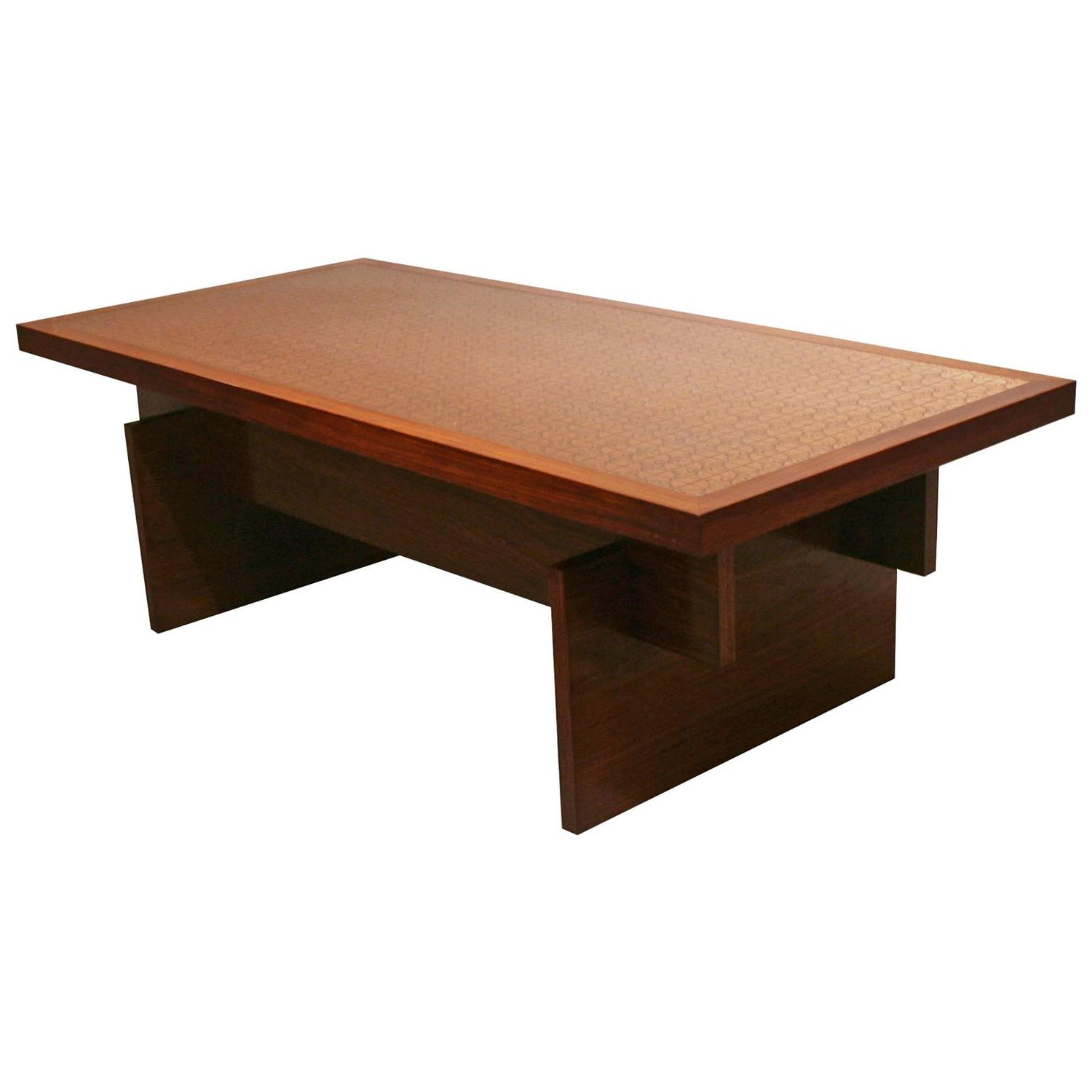 Vintage Danish Rosewood And Copper Coffee Table At 1stdibs