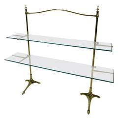 French 1900 Bronze and Glass Wall Shelves Console Attributed to Maison Brot
