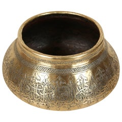 Moorish Revival Hand Etched Brass Bowl