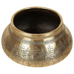 Persian Mameluke Revival Hand Etched Brass Bowl