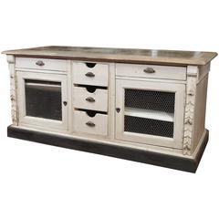 Custom Designed French Kitchen Island With A Zinc Top.
