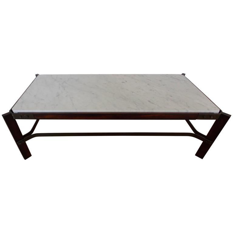 Architectural Marble Top Coffee Table, Brazil