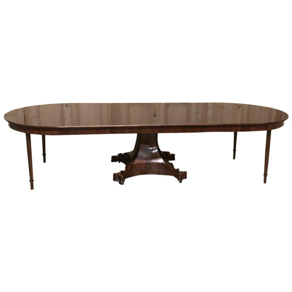 century english regency mahogany banquet pedestal table seats 12 14