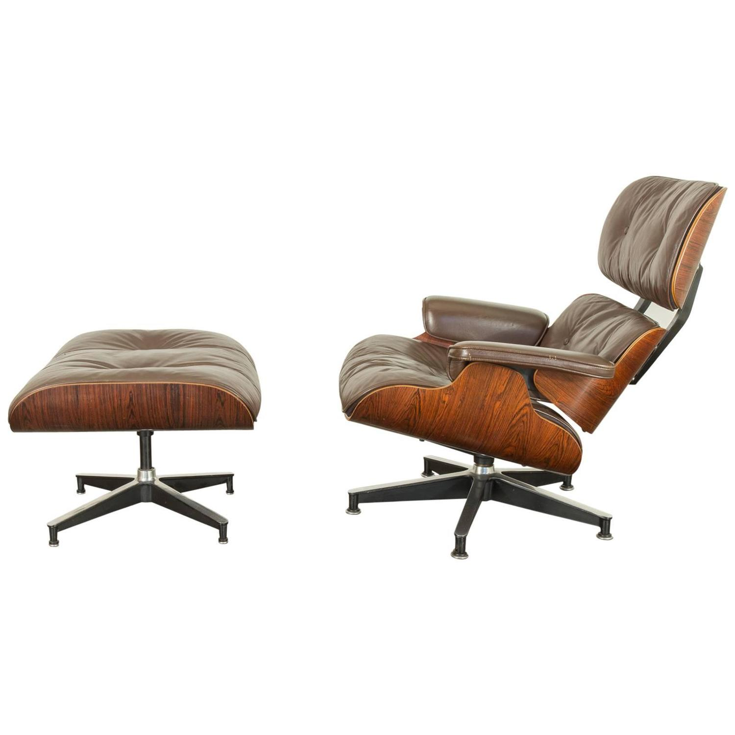 Brown Leather Eames 670 Rosewood Lounge Chair At 1stdibs