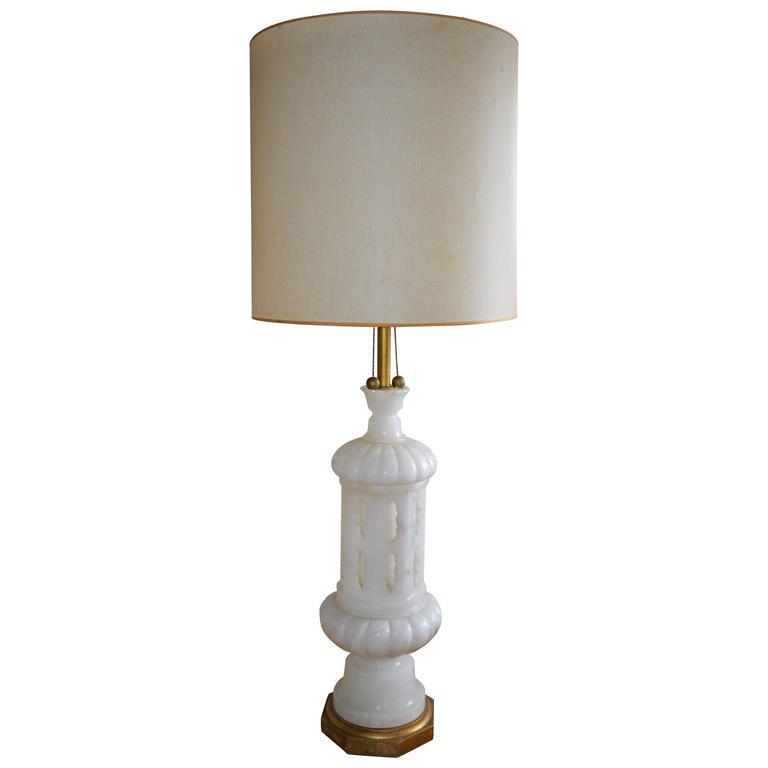 hand carved italian alabaster table lamp at 1stdibs. Black Bedroom Furniture Sets. Home Design Ideas