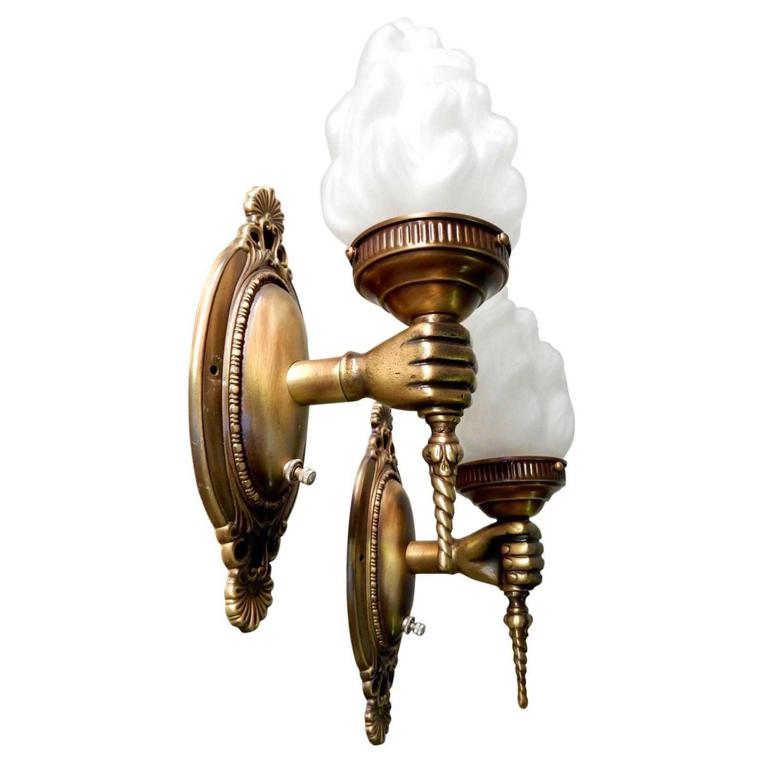 Pair antique brass hand torch wall sconce lamps at 1stdibs aloadofball Choice Image