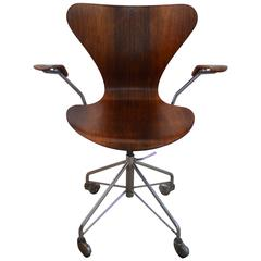 Rare Arne Jacobsen Rosewood Swivel Desk Chair with Arms