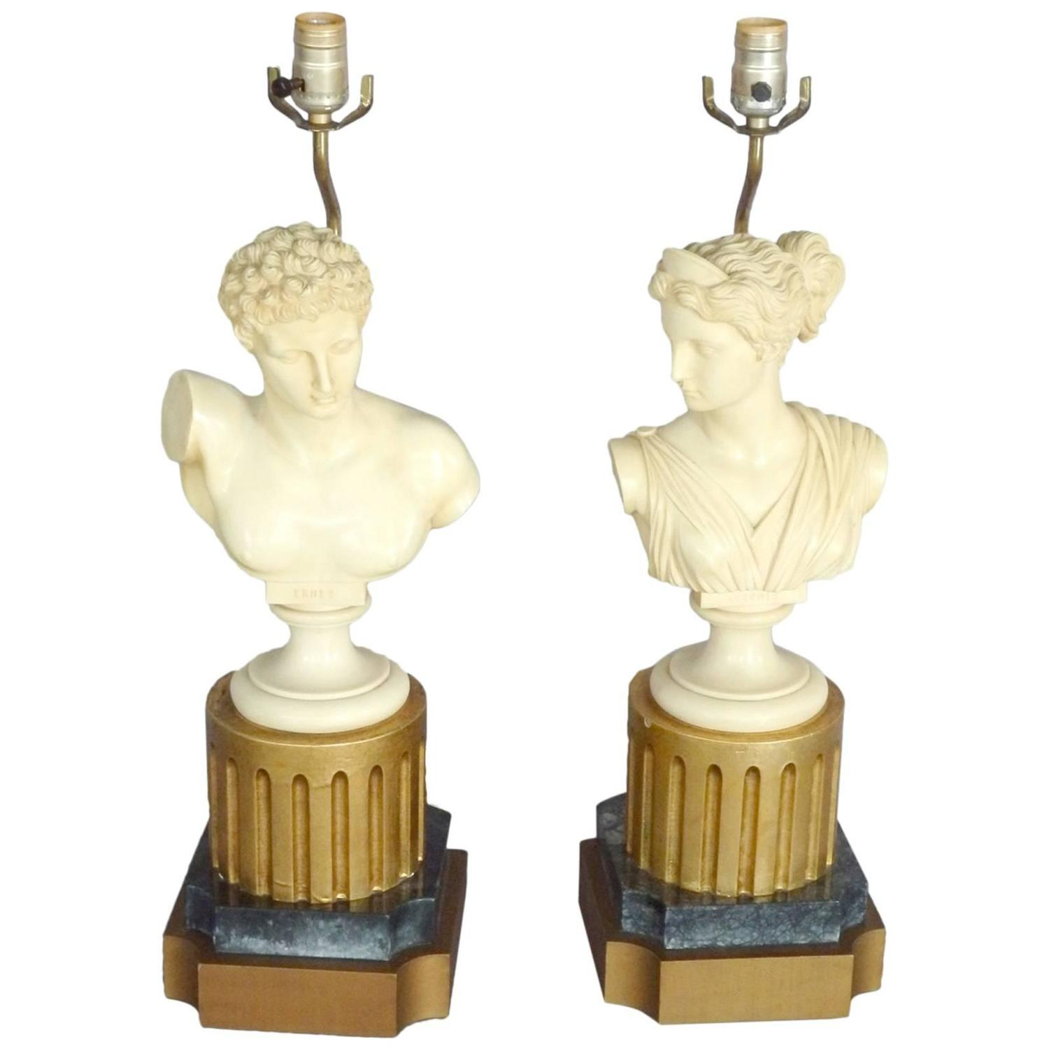Pair Of Greek God Bust Table Lamps At 1stdibs
