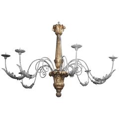Elegant and Grand Giltwood with Wrought Iron Chandelier