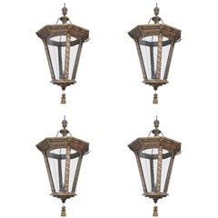 Unique Grand Painted and Gilded Italian Lantern