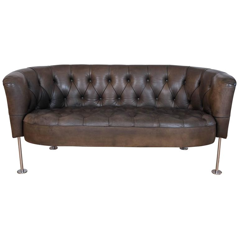Tufted Green Leather Loveseat Settee At 1stdibs