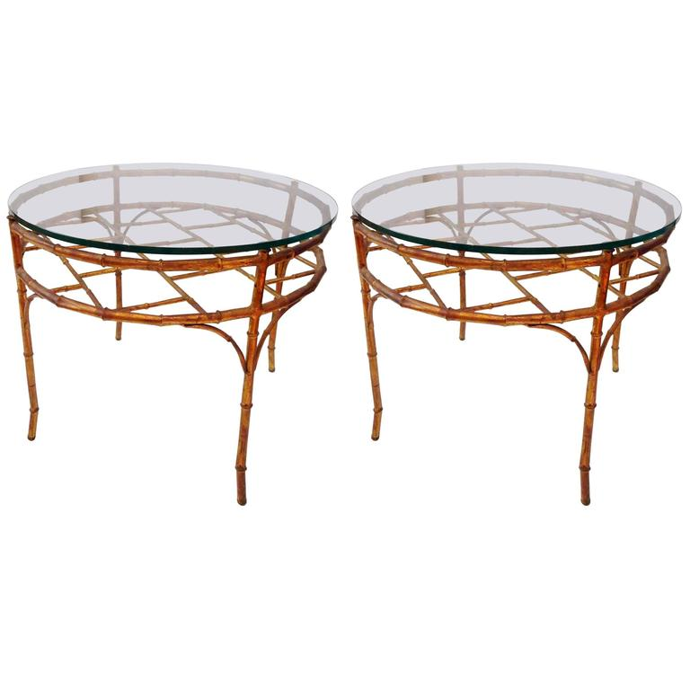Italian Gold Gilt Iron And Glass Faux Bamboo Metal Square: Hollywood Regency Faux Bamboo Gilt Metal Round Cocktail