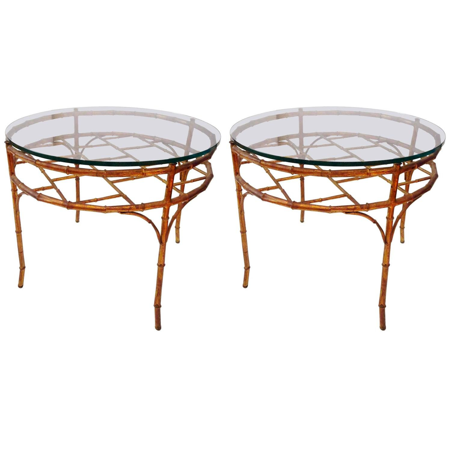 Hollywood Regency Faux Bamboo Gilt Metal Round Cocktail End Table At 1stdibs