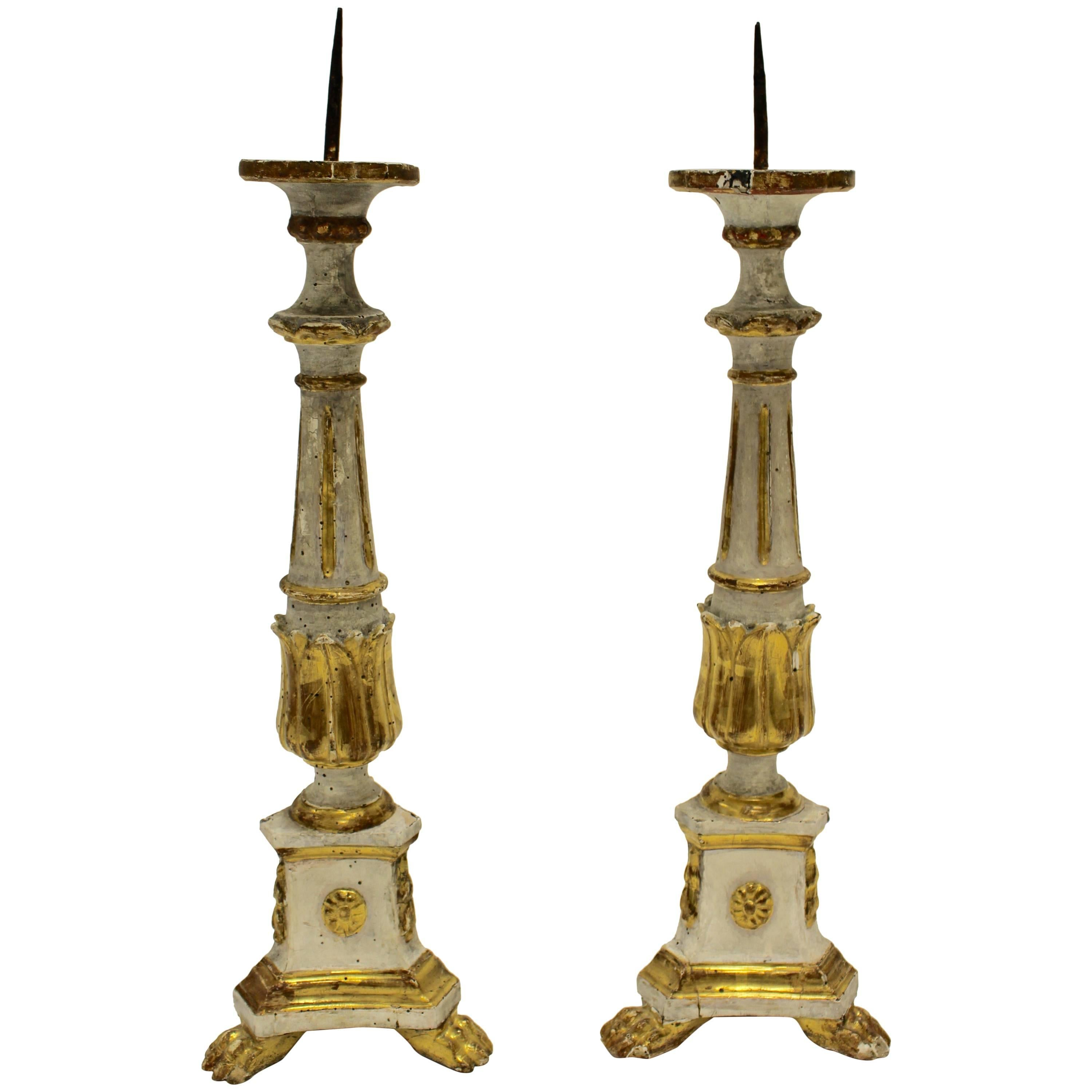 Pair of Italian Neoclassical Period 18th Century Carved Giltwood Candlesticks