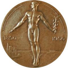 """Lehman Bros. Anniversary Medal,"" Art Deco Bronze Paperweight, 1925-1950"